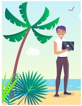 Travel illustration with freelancer on beach