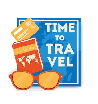 Illustrazione di viaggio con passaporto e occhiali da sole