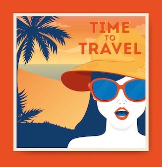 女性とビーチと旅行イラスト