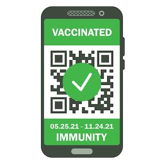 휴대 전화에 여행 면역 여권. 안전한 여행이나 쇼핑을 위한 covid-19 면역 증명서. qr 코드가 있는 전자 건강 여권. 코로나바이러스의 면역 디지털 문서