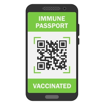 Travel immune passport in mobile phone. covid-19 immunity certificate for safe traveling or shopping. electronic health passport with qr code. immunity digital document from coronavirus