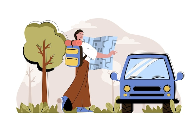 Travel impressions concept woman with backpack goes on trip by car