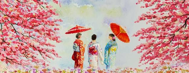 日本の秋の旅行傘で日本の伝統的な着物を着ている女性水彩絵の具