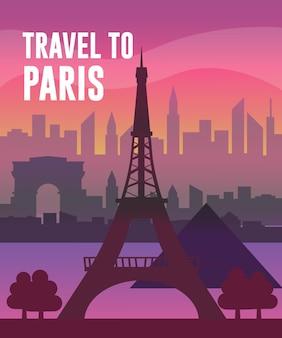 파리 벡터 플랫 크리에이티브 컨셉 일러스트레이션, 유명한 장소, 에펠탑, 루브르 박물관, 개선문 전경을 여행하세요. 포스터 및 표지용.
