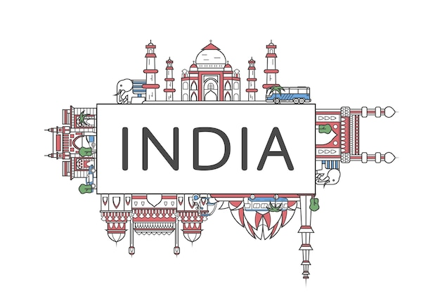 Travel india lettering in linear style