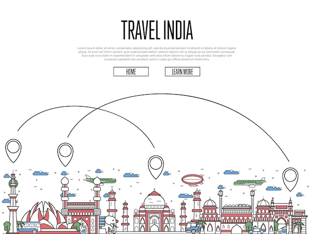 Travel india web template in linear style