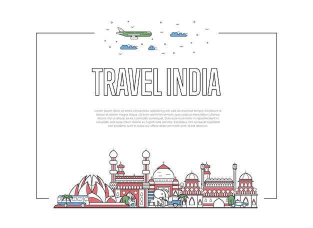Travel india website in linear style