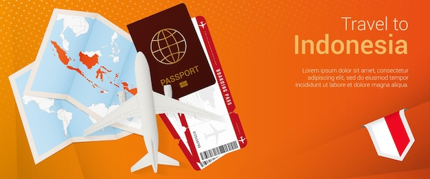 Travel to indonesia pop-under banner. trip banner with passport, tickets, airplane, boarding pass, map and flag of indonesia. Premium Vector