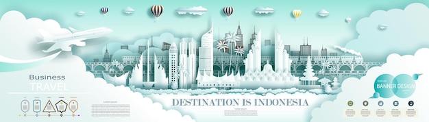 Путешествие по индонезии: всемирно известный город древней и дворцовой архитектуры. с инфографикой. тур джакарта ориентир азии с фоном флаг индонезии.