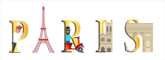 Travel infographic. france infographic, paris lettering and famous landmarks.