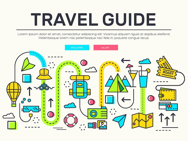 旅行のインフォグラフィックアイコンアイテムのデザイン