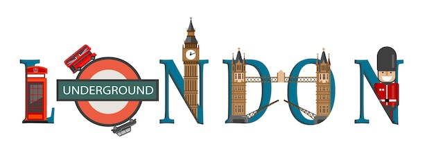 Travel infographic. london infographic, london lettering and famous landmarks