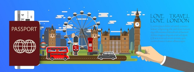 Travel infographic. london infographic, passport with landmarks of england