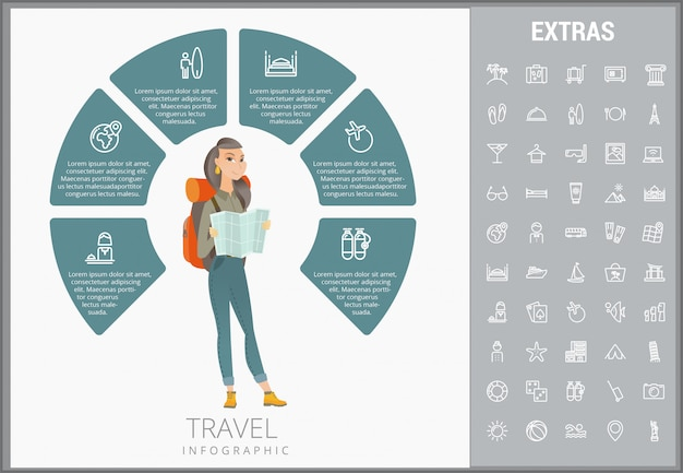 Travel infographic template, elements and icons.