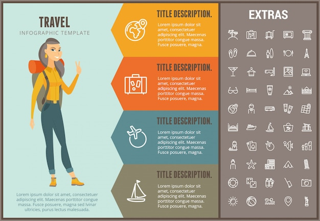 Travel infographic template, elements and icons