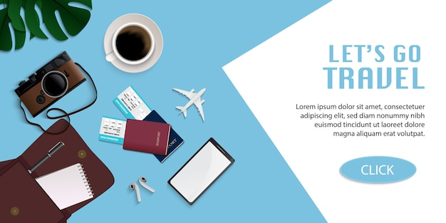 Travel infographic, time to travel illustration with travel accessories on light blue background