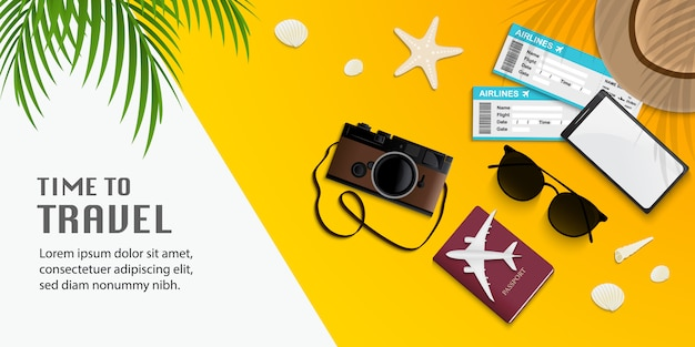 Travel infographic, time to travel illustration with travel accessories on yellow background