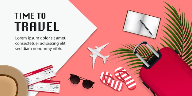Travel infographic, time to travel illustration with travel items on pink background
