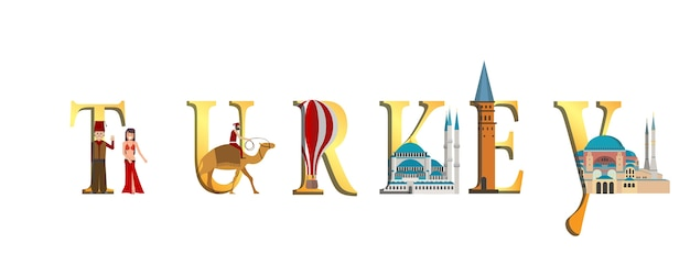 Travel infographic. turkey infographic, turkey lettering and famous landmarks.