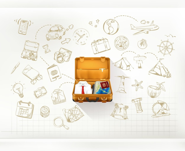 Travel infographic with suitcase