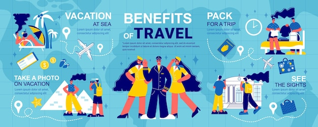 Travel infographics with location signs and routes illustration