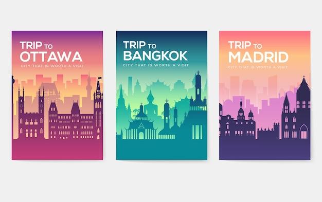旅行情報カード。 flyear、雑誌、ポスター、本の表紙、バナーの風景テンプレート。