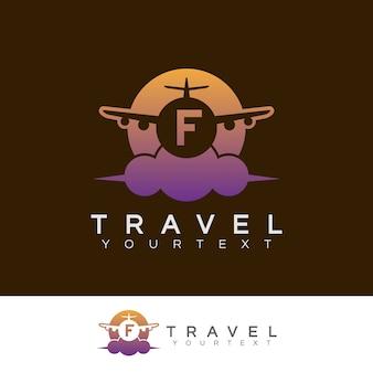 초기 문자 f 로고 디자인 여행