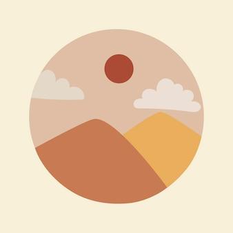 旅行instagramのハイライトカバー、アースカラーのデザインベクトルの山の落書き