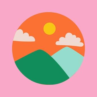旅行instagramのハイライトアイコン、レトロなデザインのベクトルで山の落書き