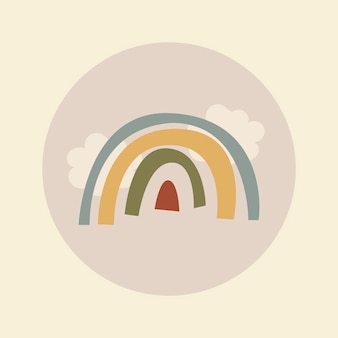 旅行instagramのハイライトアイコン、アースカラーのデザインベクトルで虹の落書き