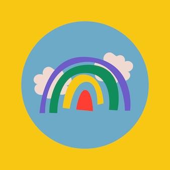 旅行instagramのハイライトアイコン、レトロなデザインのベクトルで虹の落書き