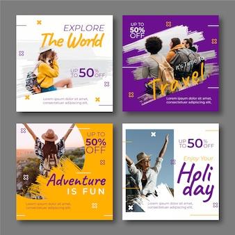 旅行インスタグラム投稿コレクションテンプレート