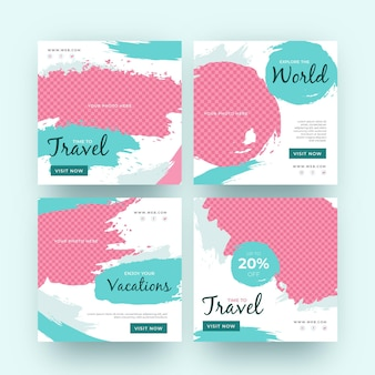 Travel instagram post collection with brush strokes