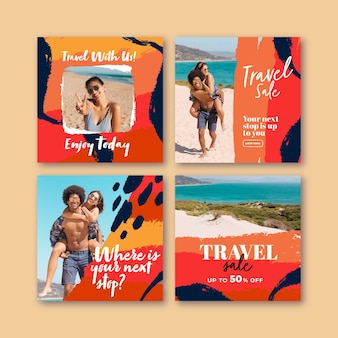 Travel instagram posts with brush strokes