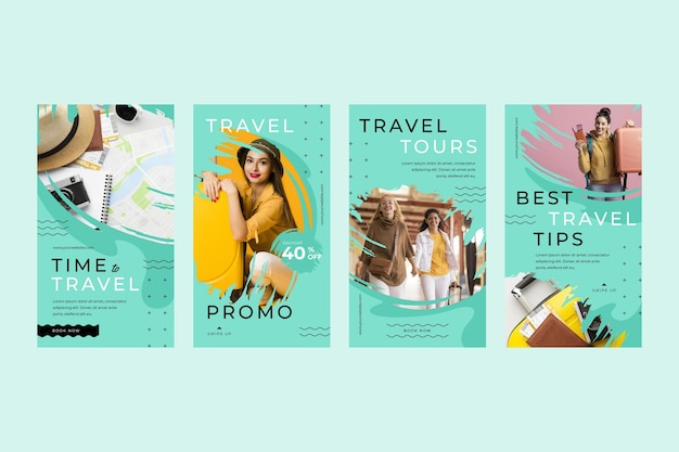 Travel instagram story collection with brush strokes