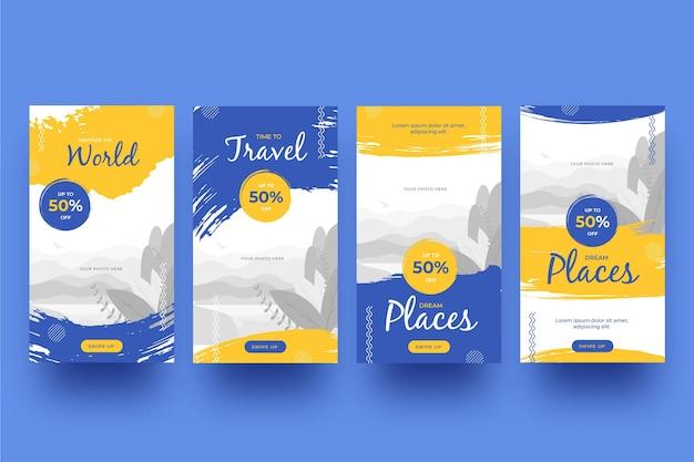 Коллекция историй путешествия instagram с мазками кисти Premium векторы