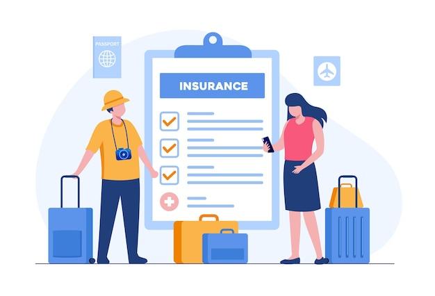 旅行保険のコンセプト。保護フラットベクトルイラストバナーとランディングページ