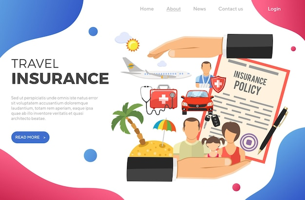 Travel insurance concept with flat icons car, medical, travel and family insurance in hand. landing page template. isolated vector illustration