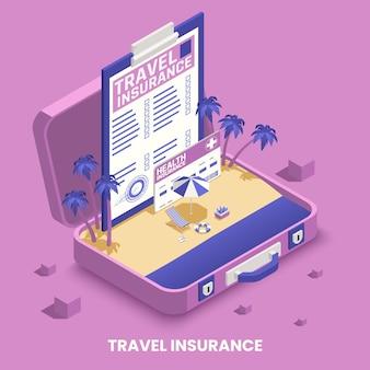 Концепция страхования путешествий с символами здоровья и транспорта изометрии