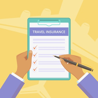 Travel insurance policy with clipboard