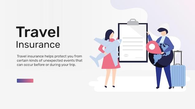Modello di assicurazione di viaggio per banner blog