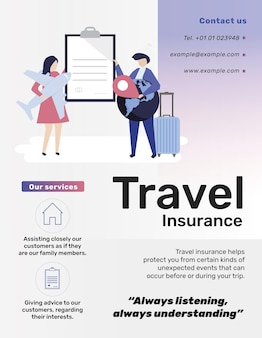 Modello di assicurazione di viaggio per volantino