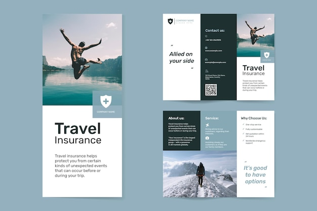 Travel insurance template vector with editable text set