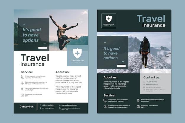 Вектор шаблона туристического страхования с редактируемым текстовым набором