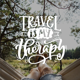 Travel is my therapy lettering
