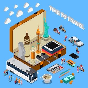 Travel isometric composition
