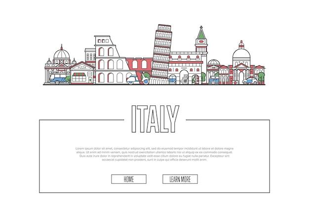 Путешествие италия постер в линейном стиле