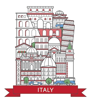 Travel italy poster in linear style