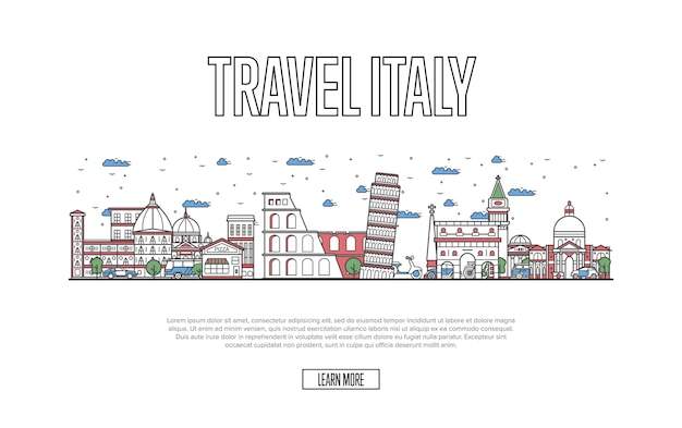 Travel italy website in linear style