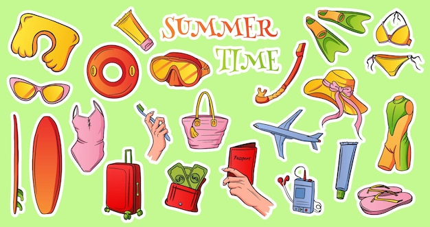 Предметы для путешествий. перелет в самолете, багаж, подушка для сна, плеер, кошелек с деньгами, паспорт в руке, зубная щетка и паста. мультяшный стиль. для оформления буклетов туристических агентств.